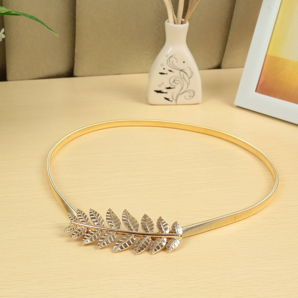 New Fashion Vintage Women Skinny Elastic Belt Leaf Design Clasp Front Stretch Metal Waist Belt Gold/Silver