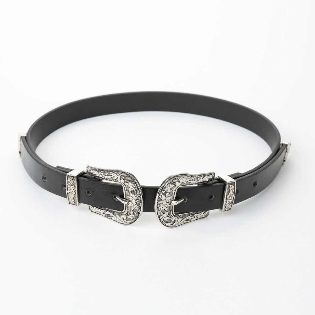New Fashion Women Leather Waist Belt Metal Vintage Slim Double Buckle Waistband Waist Strap