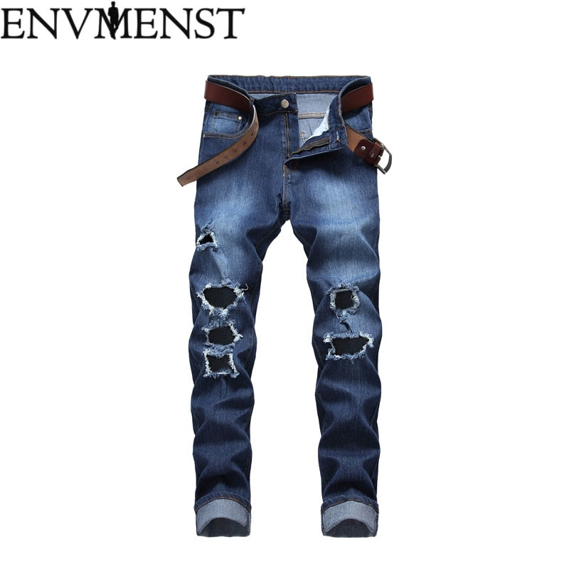 2018 Envmenst New Fashion casual Slim ripped jeans for men jeans skinny Hole biker jeans mens  jean Pants