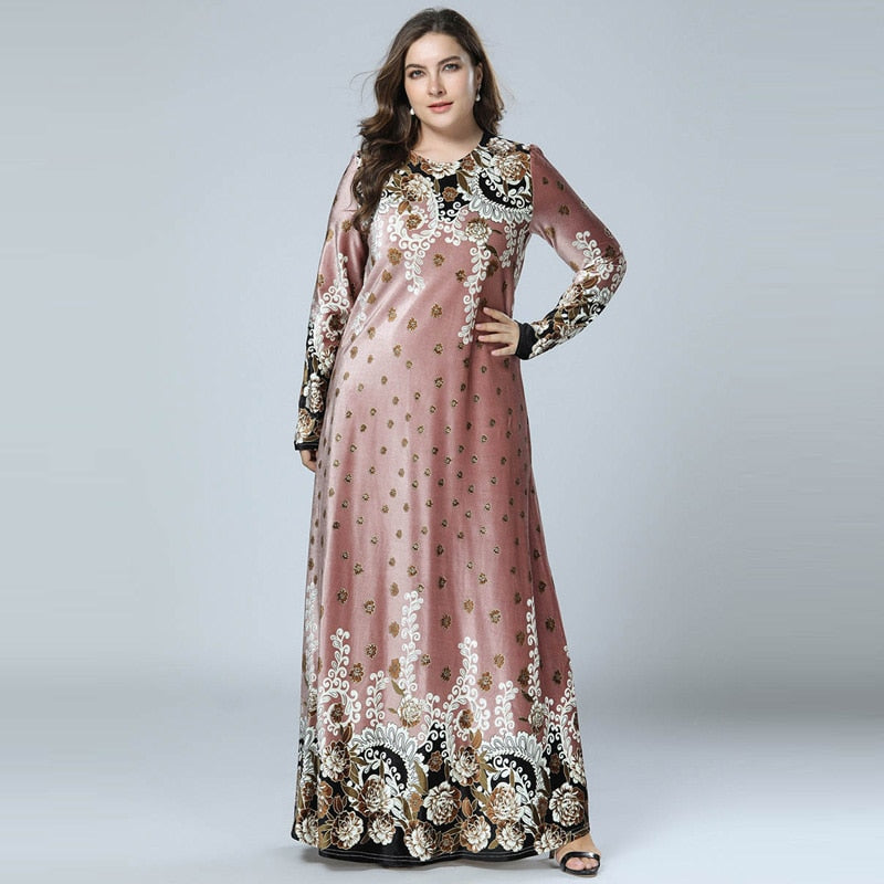 Women Bronzing Print Velvet Long Maxi Dress Arabic style Long Sleeve available in plus size