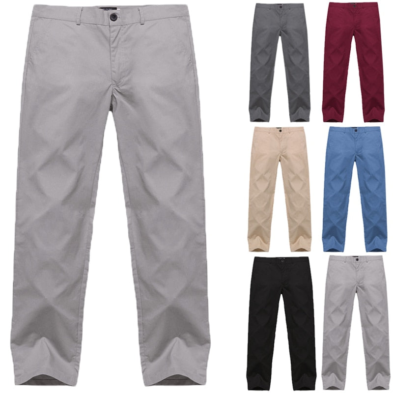 Casual Men's Pants Button Solid Color Classic Bussiness Trousers Men High Quality Fashion Leisure Social Straight Pants Men 2019