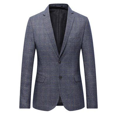 Men Blazer Jacket Grey Two Button Slim Fit Business Casual, plus size available