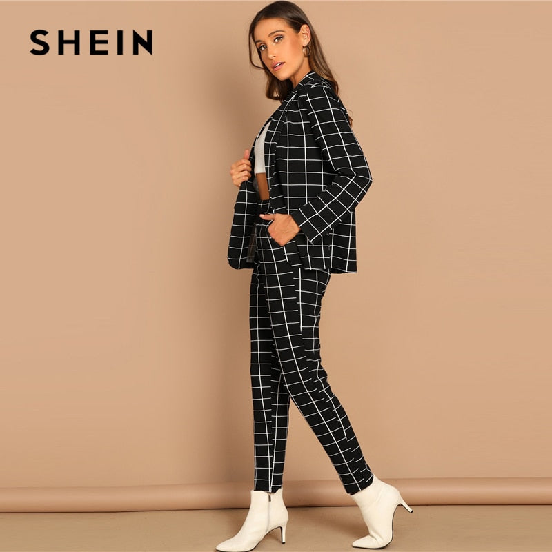 SHEIN Black Stretchy Grid Print Shawl Collar Plaid Long Sleeve Blazer Pants Set Women Autumn Workwear Morden Lady Twopiece