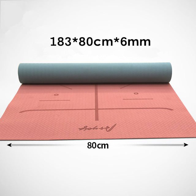 Yoga Mat 6MM TPE Body Line Beginner Non Slip Fitness Sports Mat Double Color Extra Wide Yogamatte Training Gym Mat With Bag Belt