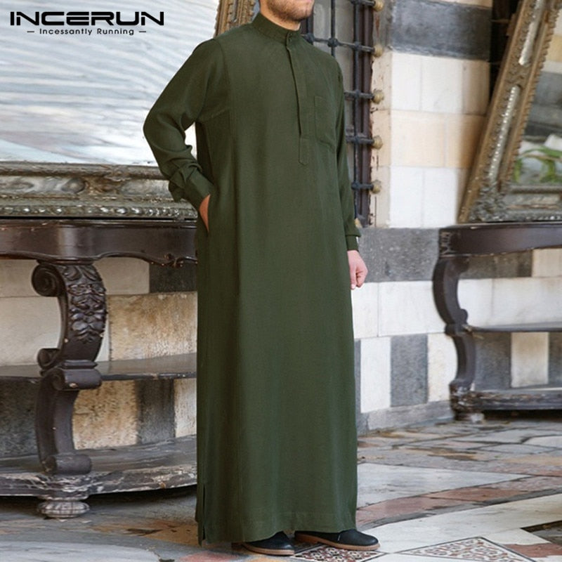 Fashion Thobe, Mens Robe Long Sleeve traditional arabic dress