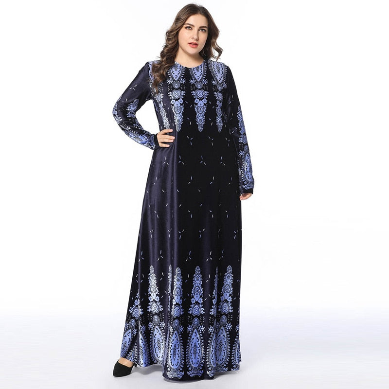 Velvet Dress Arabic Maxi Dress Print bronzing full sleeve long dress, available in plus size