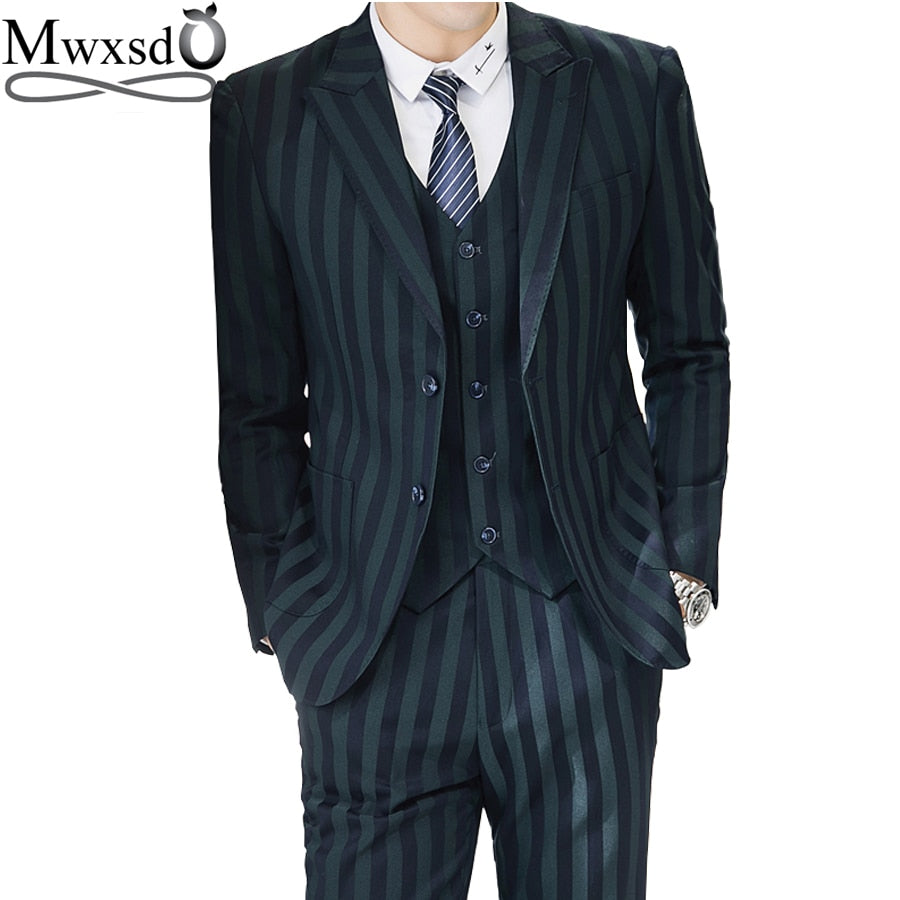 Mwxsd Men casual striped 3 piece suits set  (blazer+vest+trouser) men's business suit