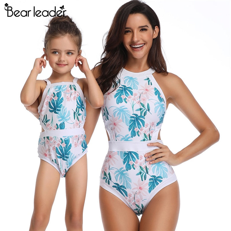 Bear Leader Matching Family Outfits Cartoon Pattern one-piece Swimsuit  Flounce design Mom and Daughter