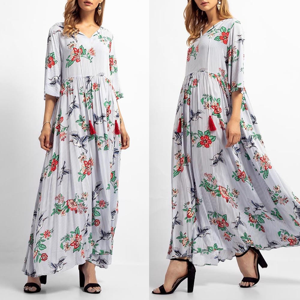 Women Fashionable Floral Print Three Quarter sleeve Maxi Robe Summer Style Dress