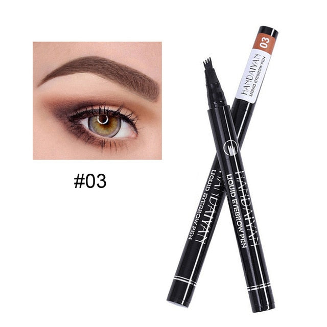 5 Color Microblading Eyebrow Pencil Waterproof Fork Tip Tattoo Pen Tinted Fine Sketch Eye Brow Pencils