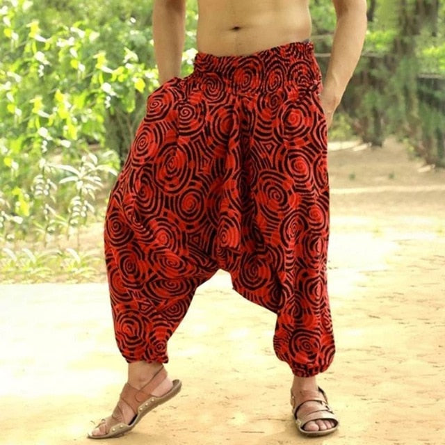 2019 Ethnic Harem Pants Aladdin Hmong Baggy Hiphop Men Feminina Pantalon Trousers Wide Legs Pants Casual Cross-pants Joggers