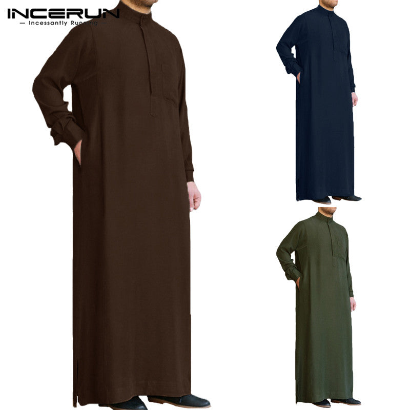INCERUN Muslim Arab Islamic Dress Long Sleeve Loose Retro Men Thobe, Kandoora Available in Plus Size