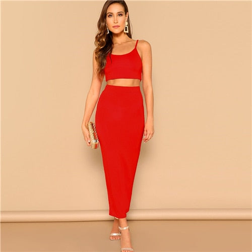 SHEIN Red Crop Cami Spaghetti Strap Top and Bodycon Pencil Skirt Set Summer Elegant Party Solid Two Piece Sets