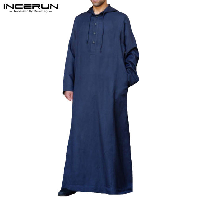 INCERUN 2019 Men's Arab Dress, Thobe, Kandoora, Long Sleeve Hooded Robe Available in Plus size 5XL