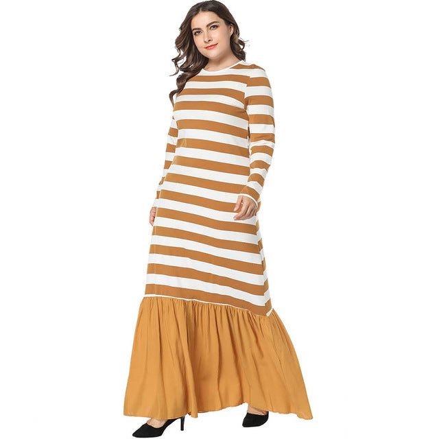 New fashion Patchwork Striped Dress in Arabic style full sleeve available in plus size