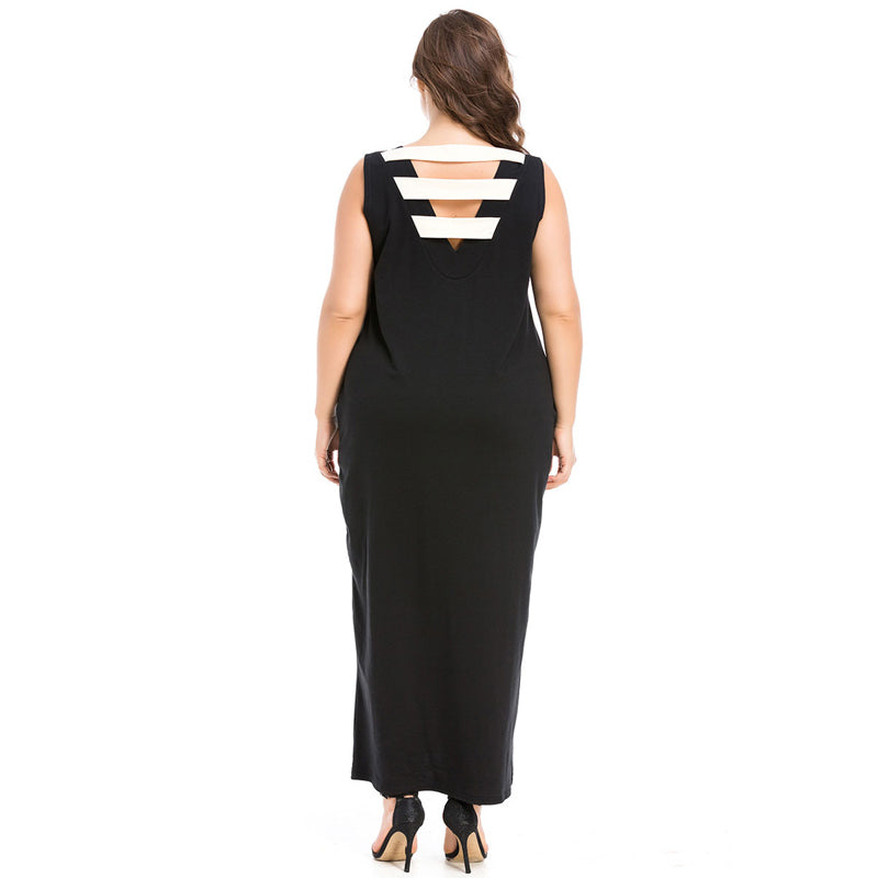 Tank Dress Fashion long Dress Hollow Out Round Neck Kaftan style with Pockets available in plus size