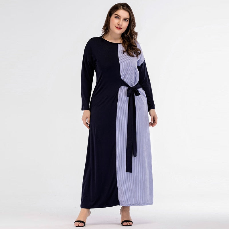 New trendy Women Patchwork Long Dress Striped full sleeve available in plus size 4XL