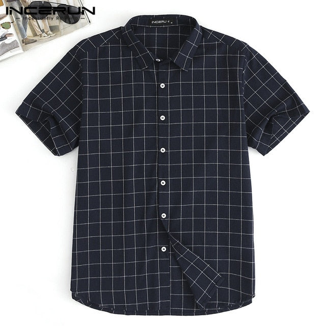 2019 Summer Men Clothing Plaid Shirts Short Sleeve Women Men Tops Social Shirt Dress Loose Fit Tropical Vacation Camisa Chemise