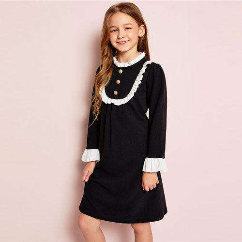 SHEIN Girls Button Front Ruffle Yoke Bell Sleeve Midi Dress Spring Daughter Pleated Stand Collar Preppy Knee-Length Dresses