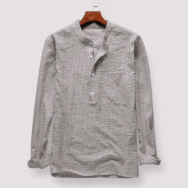 Fashion Long Sleeve Pullovers Striped Social Shirt Men Casual Shirt Dress Spring Autumn Clothes Men Loose Tops Chemise Camisa