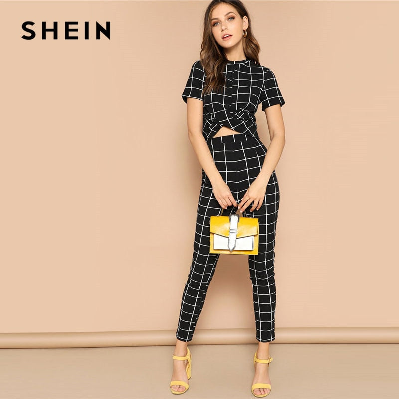 SHEIN Black Cross Wrap Front Grid Crop Top And Pants Matching Set Women Spring Skinny Elegant Short Sleeve Plaid Two Piece Set