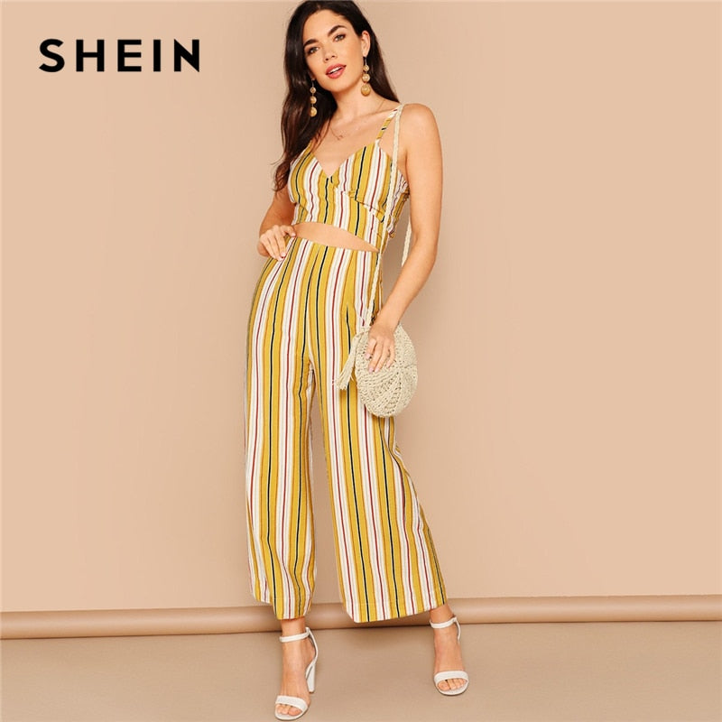 SHEIN Boho Multicolor Striped Crop Wrap Cami and Wide Leg Pants Set Summer Knot Back Zipper Fly Two Piece Set