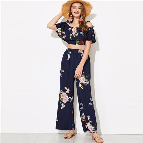 SHEIN Flounce Foldover Top and Wide Leg Pants Set Women Summer Glamorous High Street Ruffle Crop Blouse Maxi Pants Two piece