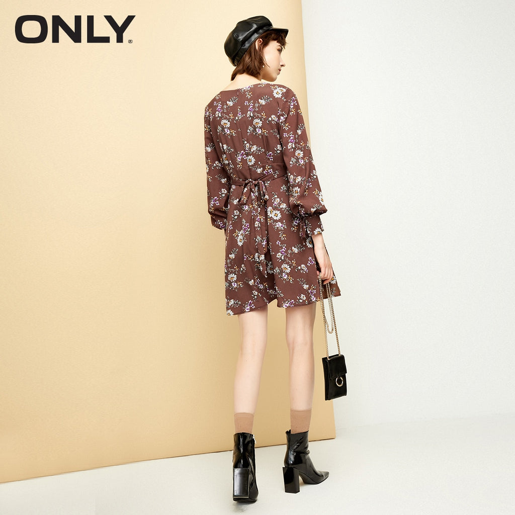 ONLY Summer Lace-up Printed Chiffon Dress