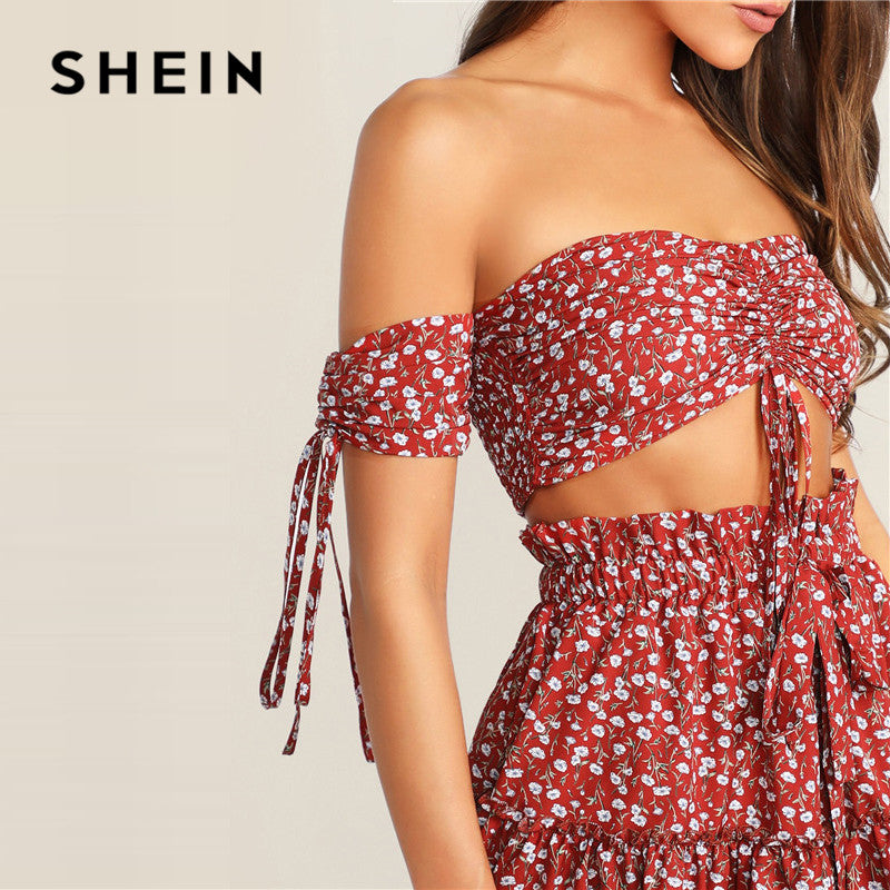 SHEIN Boho Ruched Front Shirred Crop Top And Ditsy Floral Skirt Set Women Two Piece Outfits Summer Sexy Beach Matching Sets