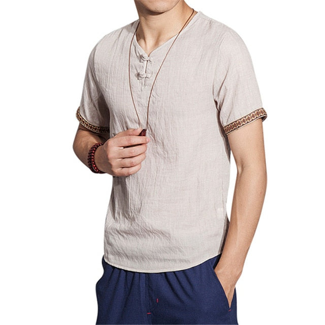 2019 New Summer Brand Shirt Men Short Sleeve Loose Thin Cotton Linen Shirt Male Fashion Solid Color Trend V-Neck Tees Plus Size