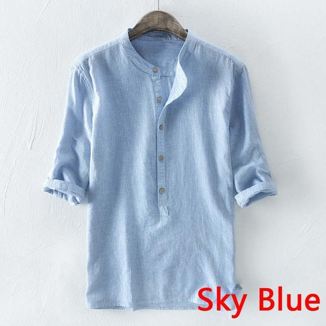 Stylish Camisa Masculina Autumn Spring Cotton Shirt Dress Men Social Shirt Striped Stand Collar Three Quarter Sleeve Men Tops