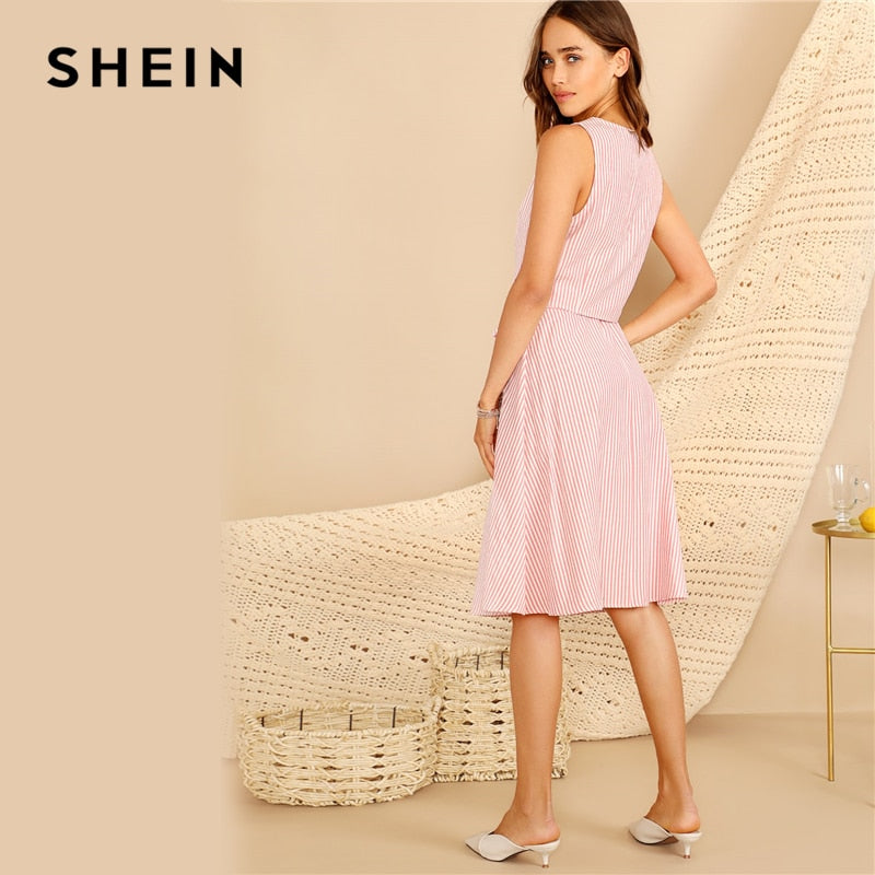 SHEIN Boho Pink V-neck Button Front Striped Slim Fitted Crop Top and Belted Midi Skirt Set Women Summer Elegant Two Piece Set