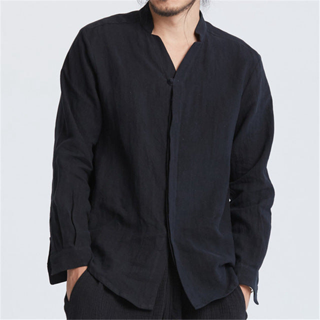 Men Clothes 2019 Cotton Linen Casual Shirt Men Solid Chinese Style Linen Shirt Male Casual Loose Shirt Covered Button Plus Size