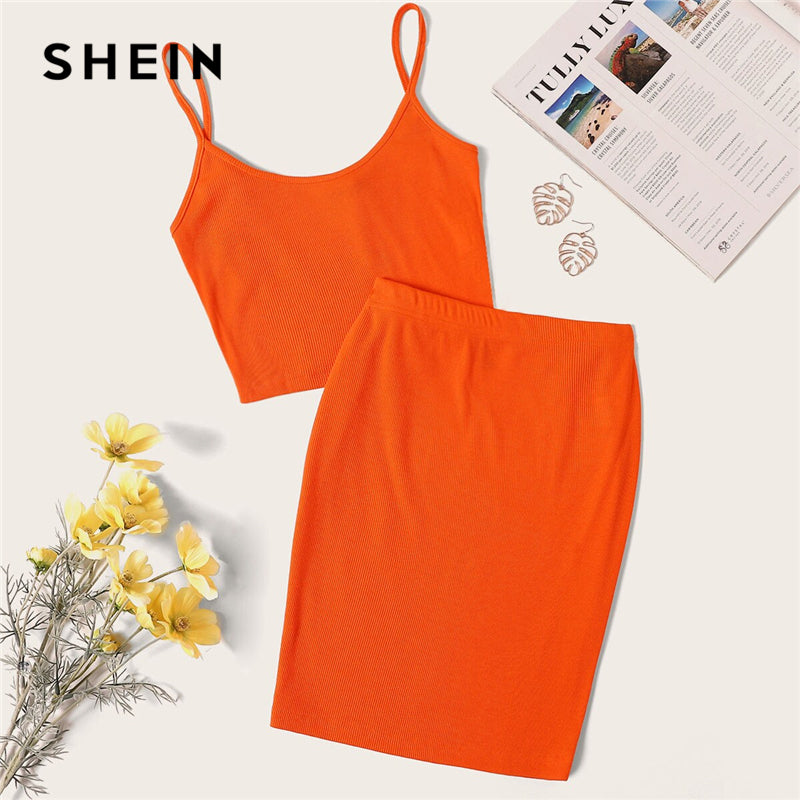 5a8ad99b26 SHEIN Neon Orange Rib-Knit Crop Cami Top And Skinny Skirt Set Sexy Solid  Sleeveless
