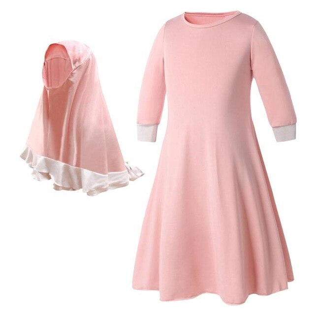 2pcs Girl Long Sleeve Pink Gown Dresses, Party Wear Clothing, Headscarf Set