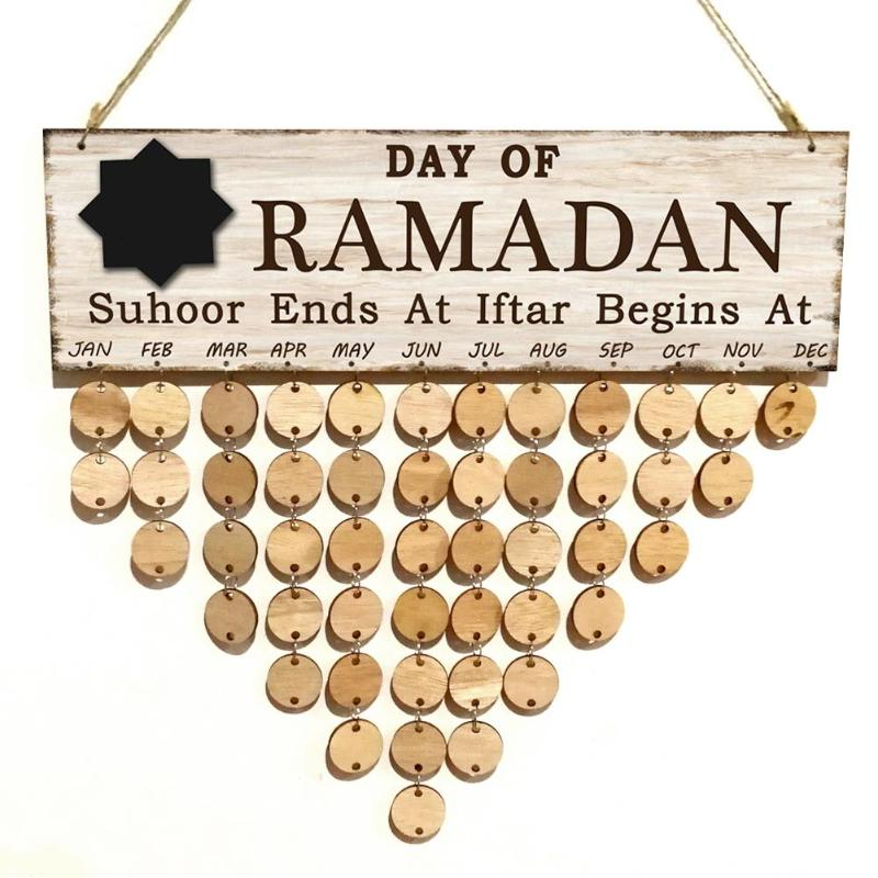 Eid Mubarak Natural Wood Countdown Board, Count Down Calendar, Note Pad Card Wall Decoration