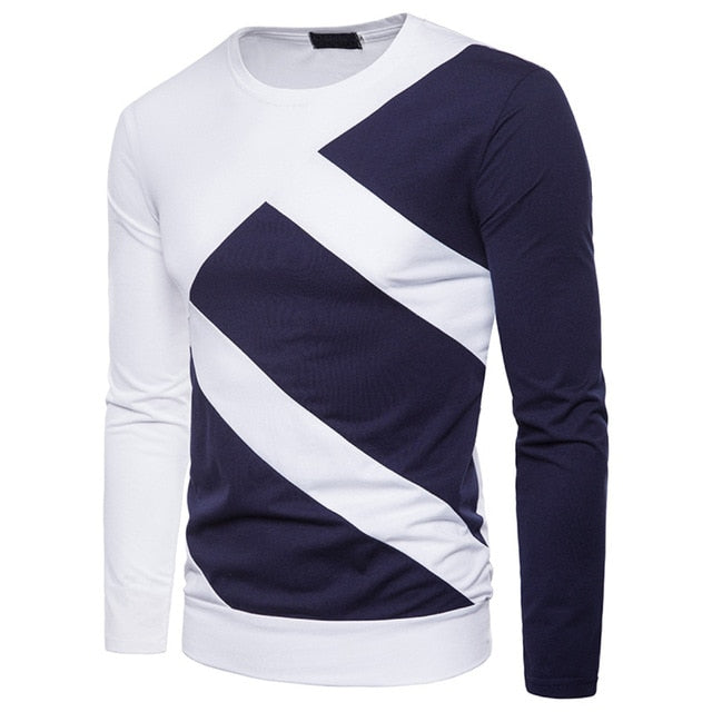 2019 Spring New Fashion Men Color Matching Long Sleeve Slim Fit Splice O Neck Long Sleeve Casual T-shirt