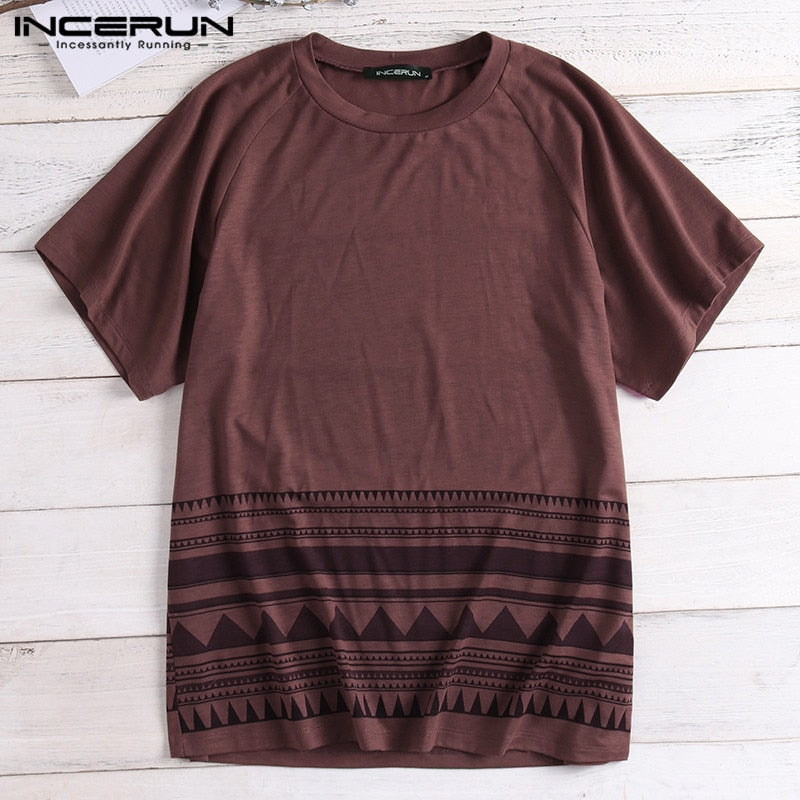 Men T-shirt Beach Summer Bohemian Loose Baggy Short Sleeve