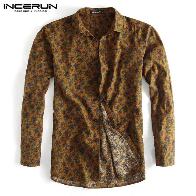 Long Sleeve Turn Down Collar Slim Men's Floral Print Shirt, Casual and Party Wear