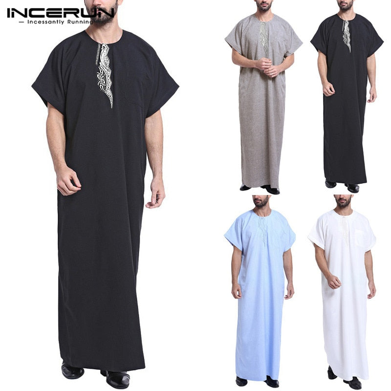 INCERUN Men's Arabic Dress  Vintage Print Short Sleeve Thowbe Available in Plus size 5XL