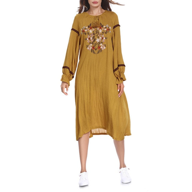 Women Summer Dress Pure Color Embroidery knee length Long Dress