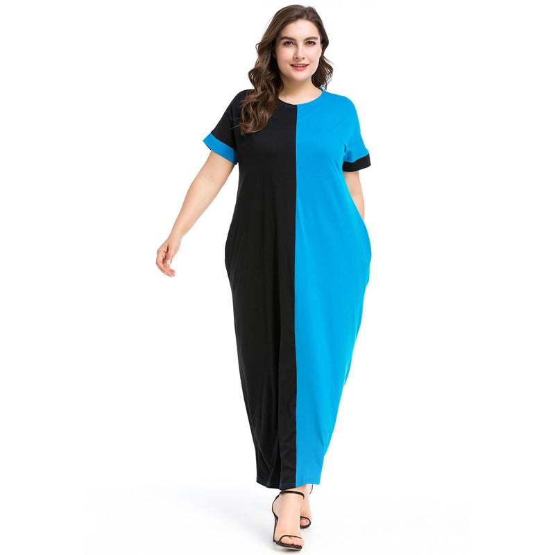 Women Summer Dress Round Neck Dual colour Long Dresses Short Sleeve available in Plus Size M-4XL