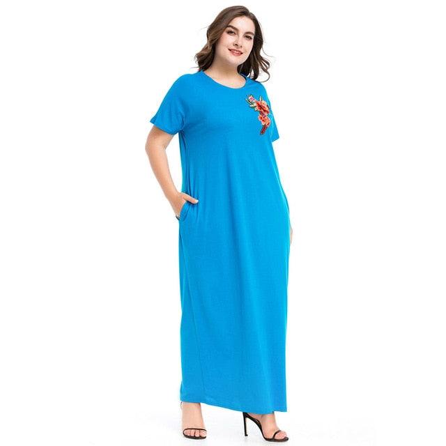 Rose Appliques Summer Dress Round Neck Kaftan style Long Dresses Short Sleeve available in Plus Size M-4XL