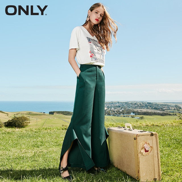 ONLY  Summer Striped Split Wide-leg Casual Pants