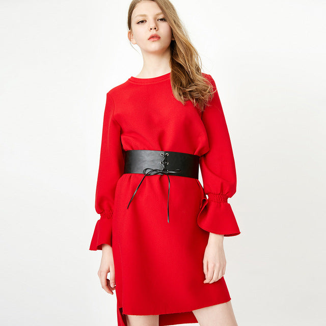 ONLY Summer Round Neckline Low-high Long-sleeved Dress