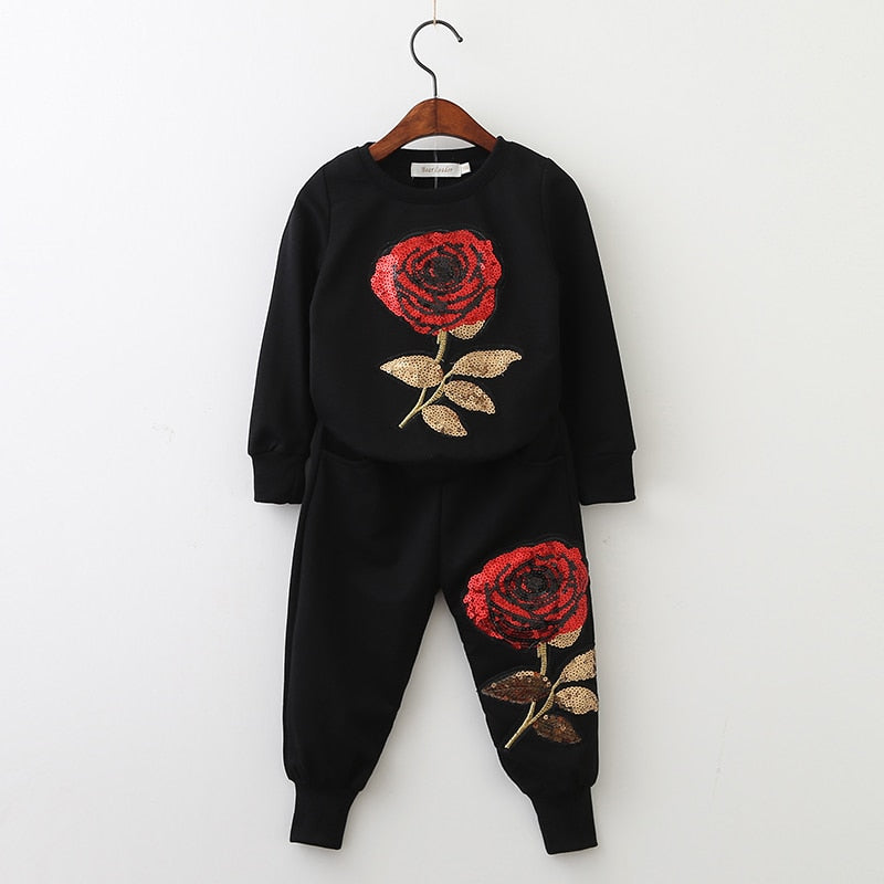Bear Leader Matching Outfits Mother And Daughter Long Sleeve Rose Floral Sweatshirt+Pants 2Pcs Suit