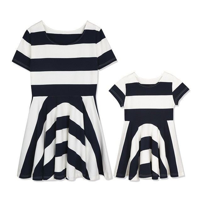Bear Leader Family Matching Outfits Mother And Daughter Striped dress Short Sleeve