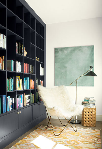Built-in bookcase painted in Baby Seal Black Regal Select Paint color