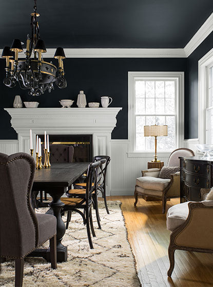 Dining room walls painted in Black Ink Aura Paint color