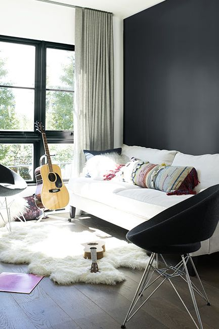 Living room walls painted in Baby Seal Black ben paint color